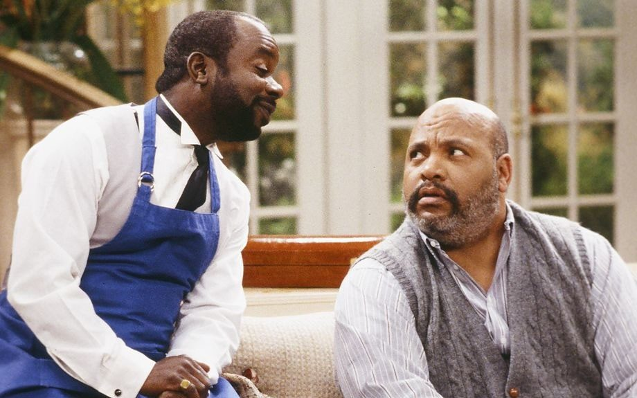 Geoffrey the butler (actor Joseph Marcell) jokes around with his boss.