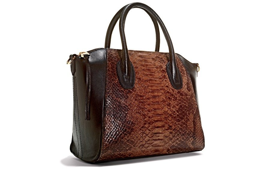 She can fit <em>everything</em> in this Snakeskin bag ($149; Marshalls stores nationwide)