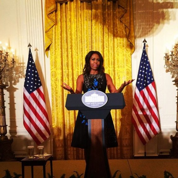 "<font color=""black"" face=""Calibri,sans-serif"" size=""2""><span style=""font-size:14px;""><font face=""Calibri,sans-serif"">Michelle Obama at the White House Fashion Education Workshop just over a week ago.</font></span></font>"