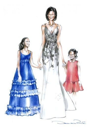 "<div> 	<span style=""font-size:14px;""><font face=""Calibri,sans-serif"">A sketch prepared for Michelle, Sasha and Malia Obama for the 2008 inaugural ball.</font></span></div> <div> 	 </div>"