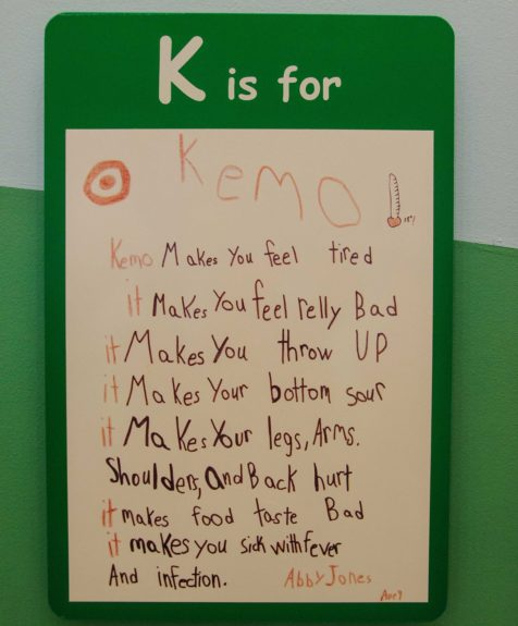 """""""K is for 'Kemo,"""" says a patient. The wall of alphabets runs down what the children experience on a daily bases. But not all is bad! Many of the letters, like """"F"""" for """"Family,"""" were inspiring."""