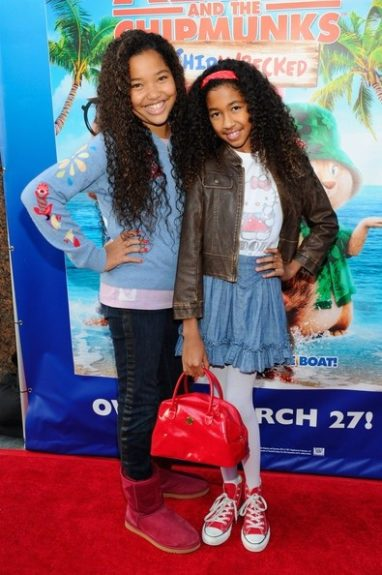 Sisterly love! Ming Lee and Aoki Simmons at the Alvin and the Chipmunks: Chipwrecked DVD release concert. Such cute young ladies