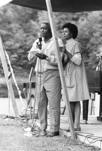 "Jackie Robinson is pictured with wife Rachel Robinson as they attend an event together. (Moneta Sleet, Jr. / EBONY Collection) Shop the entire EBONY Collection <strong><a href=""http://www.ebony.com/store#axzz2PsEj7sec"" target=""_blank"">here</a></strong>."
