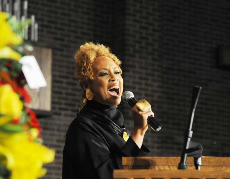 """<span style=""""color: rgb(0, 0, 0); font-family: Calibri; font-size: medium;"""">Santita Jackson, granddaughter of Helen Burns Jackson and daughter of the Rev. Jesse Jackson, during solo at a Sunday night memorial concert.</span>"""
