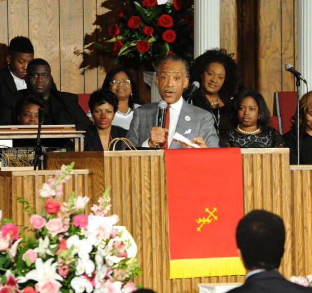 """<span style=""""color: rgb(0, 0, 0); font-family: Calibri; font-size: medium;"""">The Rev. Al Sharpton addresses the crowd and shares stories of talking and visiting with Helen Burns Jackson.</span>  <span style=""""color: rgb(0, 0, 0); font-family: Calibri; font-size: medium;"""">Credit: John H. W"""