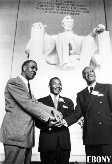 """Roy Wilkins, Dr. Martin Luther King Jr., and A. Philip Randolph in Washington, D.C. just after prayer pilgrimage in 1957. Shop the entire EBONY Collection<strong><a href=""""http://www.ebony.com/store#axzz2PsEj7sec"""" target=""""_blank"""">here</a></strong>."""