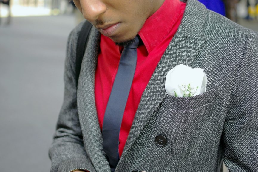 Jermaine Jerry (designer) wearing a blazer and shirt by Express with a H&M tie.