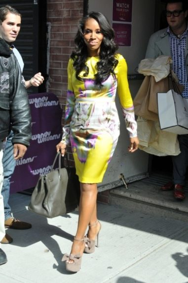 The forever fabulous June Ambrose stopped by the Wendy Williams show, and was stunning in Vera Wang, and Giuseppe platforms