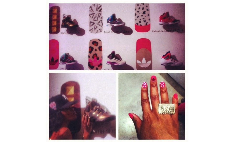 Teyana Taylor snuggles up to her already legendary Harlem GLC sneakers, while this editor's nails were designed after the Valentine Day GLCs.