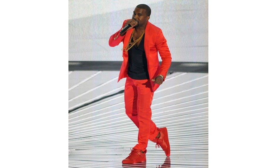 It's not your ordinary blue, black or brown jacket, but can work well when anchored with neutrals or go all out like Kanye in a head to toe colorful ensemble.