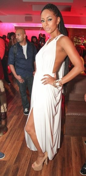 Keri Hilson gives us regal Greek goddess in her white Michael Costello gown with draping and cork platform pumps. <em>Photo</em>: Keri's Instagram