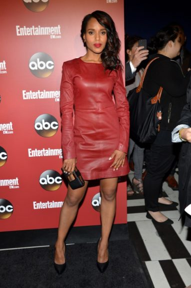 Kerry Washington was spotted at the <em>Entertainment Weekly </em>& ABC 2013 New York Upfront Party in a red leather long-sleeve dress from Marc by Marc Jacobs, and Lanvin Minaudiere and black pumps. Photo Credit: Getty