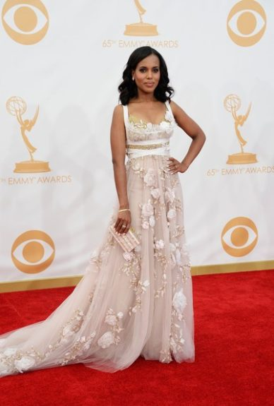 Kerry gets dreamy and romantic in this blush embellished Marchesa gown with gold detail, at the 2013 Emmy Awards. Loose waves and fresh-face makeup were the perfect compliment; we'd say she rocked it!