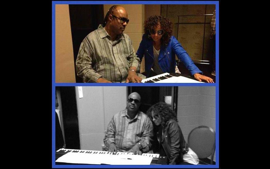 Alicia Keys tweeted this Instagram image of her rehearsals with the legendary Stevie Wonder before she honored him at the Billboard awards last night with the 'Billboard Icon Award.'