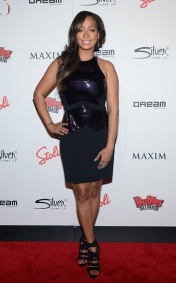 La La Anthony in a cute LBD with a futuristic shiny paneling at the bodice