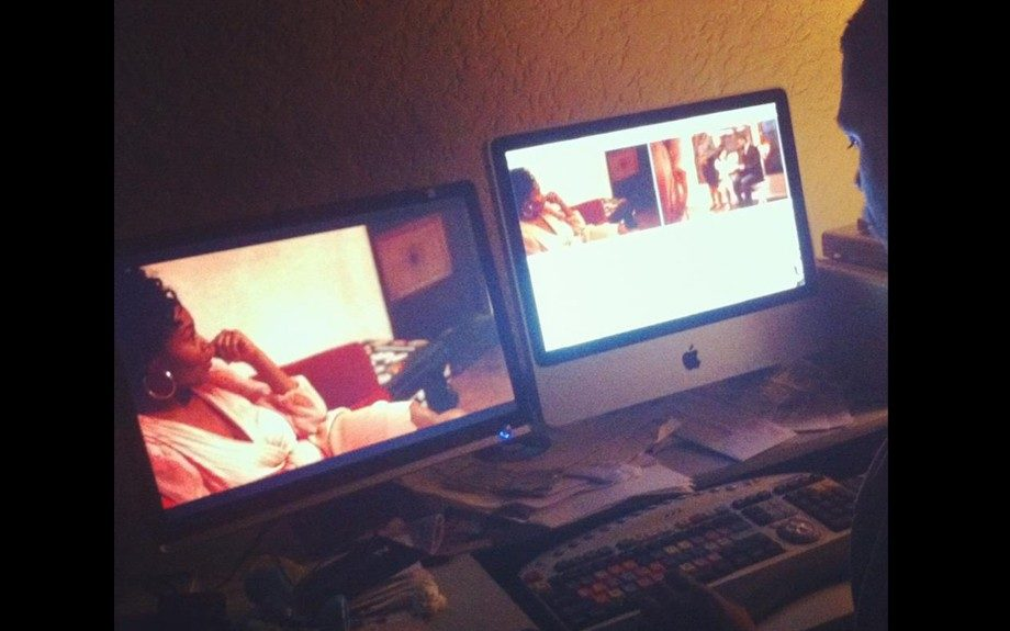 Dennis editing <em>The Couple</em> webisode. His affair with film started as a music major at Loyola Marymount
