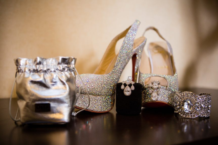 Sparkling Christian Louboutins and coordinating bridal accesorries set the occasion