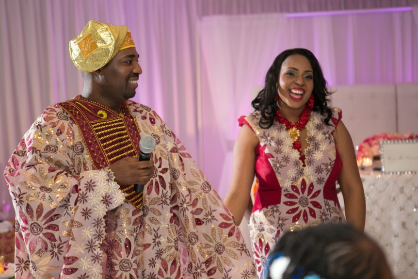 Philly departs and Nigeria enters! Christopher Chidi and Lyndah Ofili make a wardrobe change in traditional Nigerian garb. The bride wears Priscilla Costa Brazil