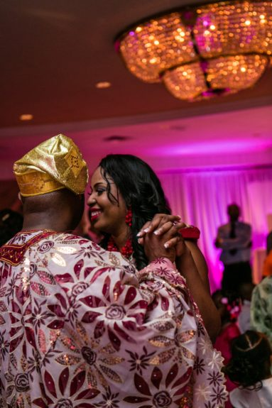 The couple parties the night away Nigerian style!