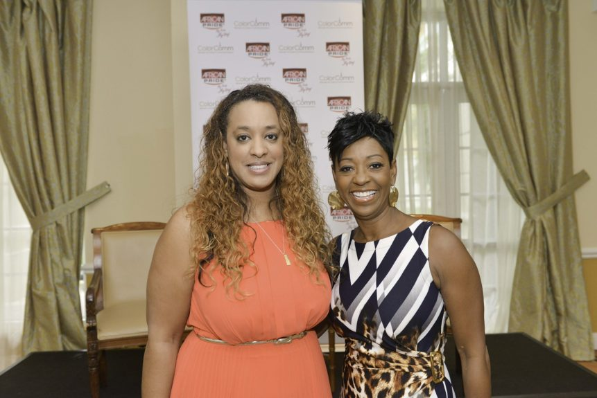 Strength of Nature's Global Marketing Director stirkes a pose with Gloria Mayfield Banks.