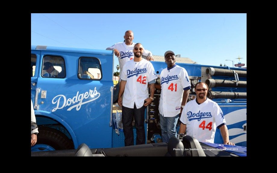 Matt with his LA Dodger teammates
