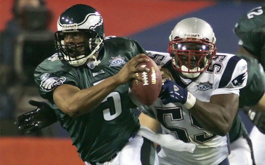 Donovan McNabb led his Philadelphia Eagles into Superbowl XXXIX on February 5th, 2005.  The Eagles lost to the New England Patriots 24-21 as the Patriots collected their third Superbowl victory in four years.