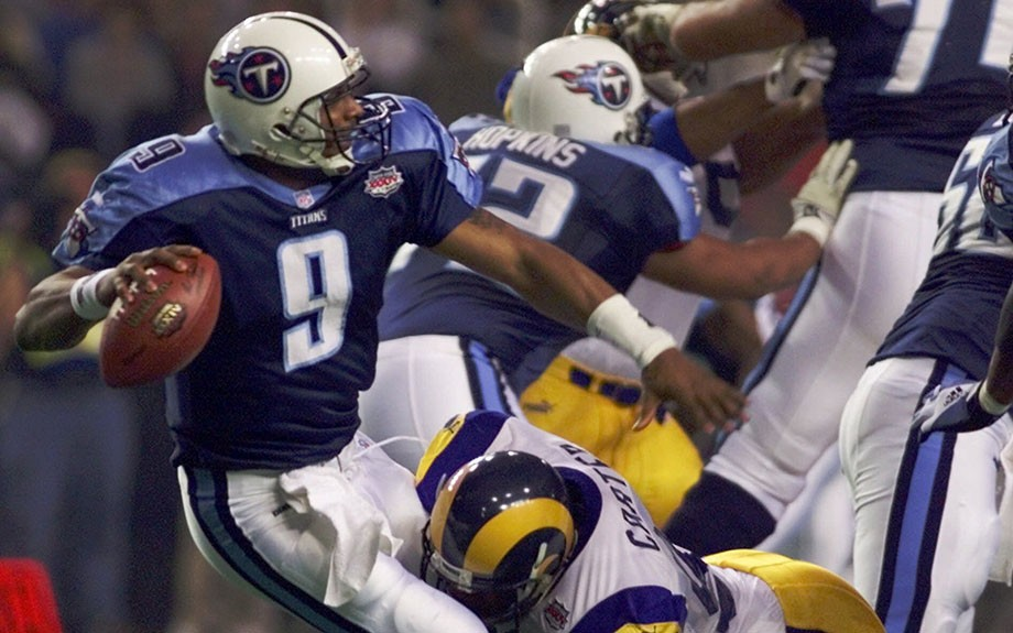 In what many consider to be the greatest Superbowl of all-time, Steve McNair guided his Tennessee Titans into Superbowl XXXIV and came up just short of defeating the St. Louis Rams.