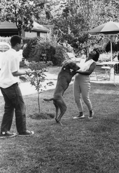 "Hazel Scott enjoys family time with her son and dog at home.  	View the entire EBONY Collection <a href=""http://www.ebony.com/store#axzz2PsEj7sec"" target=""_blank"">here</a>."