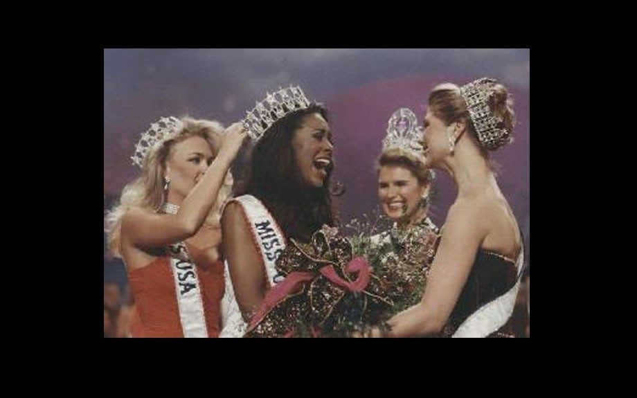 Kenya Moore winning the Miss USA title in 1993.