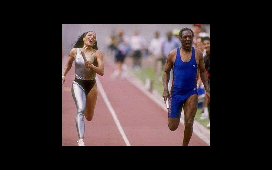 Florence Griffith-Joyner races Bill Cosby down the track, 1989.