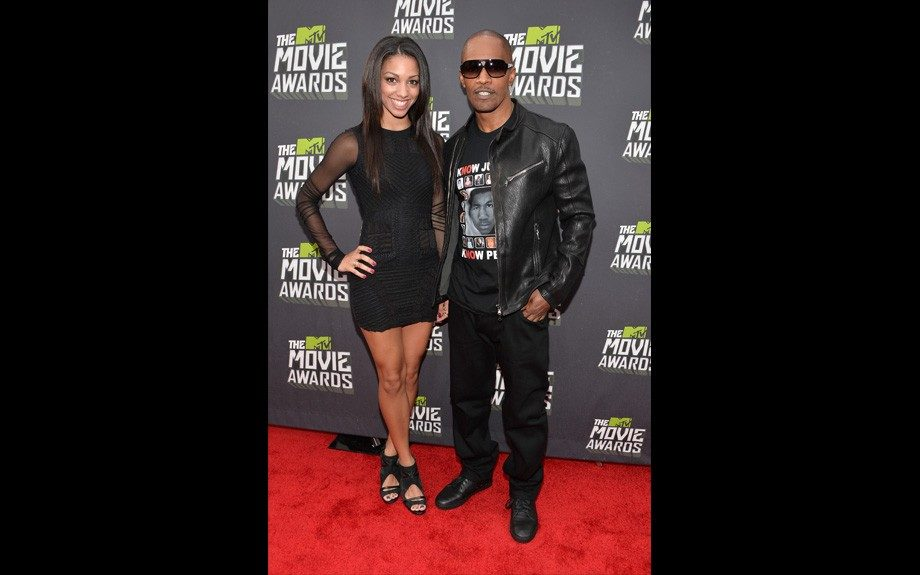 Actor Jamie Foxx (R) and daughter Corinne Bishop (Photo by Alberto E. Rodriguez/Getty Images)