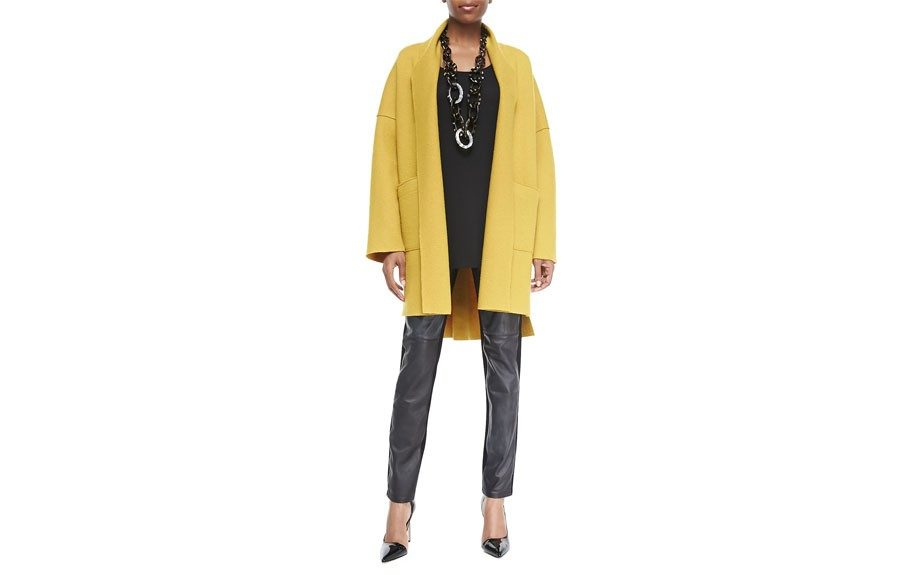 """Eileen Fisher The Icons Kimono Coat, $378,<a href=""""http://www.eileenfisher.com/EileenFisher/collection/ShopByCategory/Outerwear/PRD_F4BW-C0167M/The+Icons+Kimono+Coat+in+Boiled+Wool.jsp?bmLocale=en_US"""" target=""""_blank"""">www.eileenfisher.com</a>. <div> </div>"""