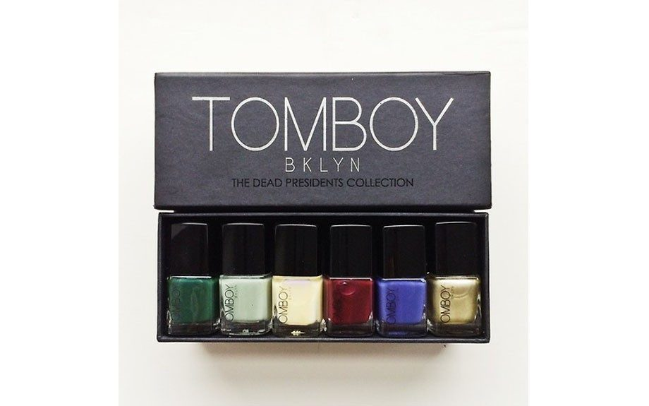 """The best of both worlds, this collection of 5-Free nail polish has neutrals and vivid hues<i>. <strong><a href=""""http://tomboybklyn.bigcartel.com/product/tomboy-bklyn-nails"""" target=""""_blank"""">TOMBOYBKLYN""""The Dead Presidents Collection,""""</a> $35.</strong></i>"""