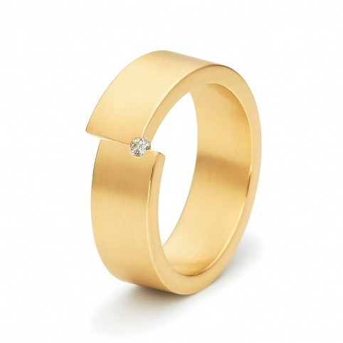 Niessing Tectus yellow gold band with a diamond, #3,950 at stuartmoore