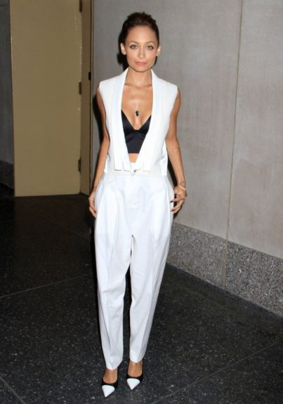 Nicole Ritchie looks great in this J brand vest, matching trousers, Alexander Wang bra top, and Saint Laurent pumps. Photo Credit: Splash