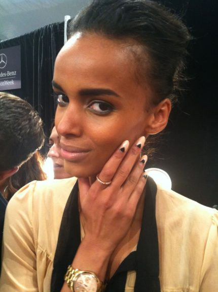 Model Cici Ali (who appears in EBONY's September Issue!) showcases  a killer combo of two toned nails from Tracy Reese's nail collection from Sally Hansen out in spring 2013.