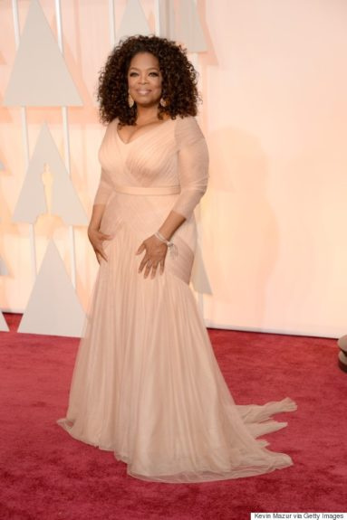 "Oprah Winfrey: ""Gorgeous in Vera Wang, showing yet again that curvy girls can rock a red carpet."""