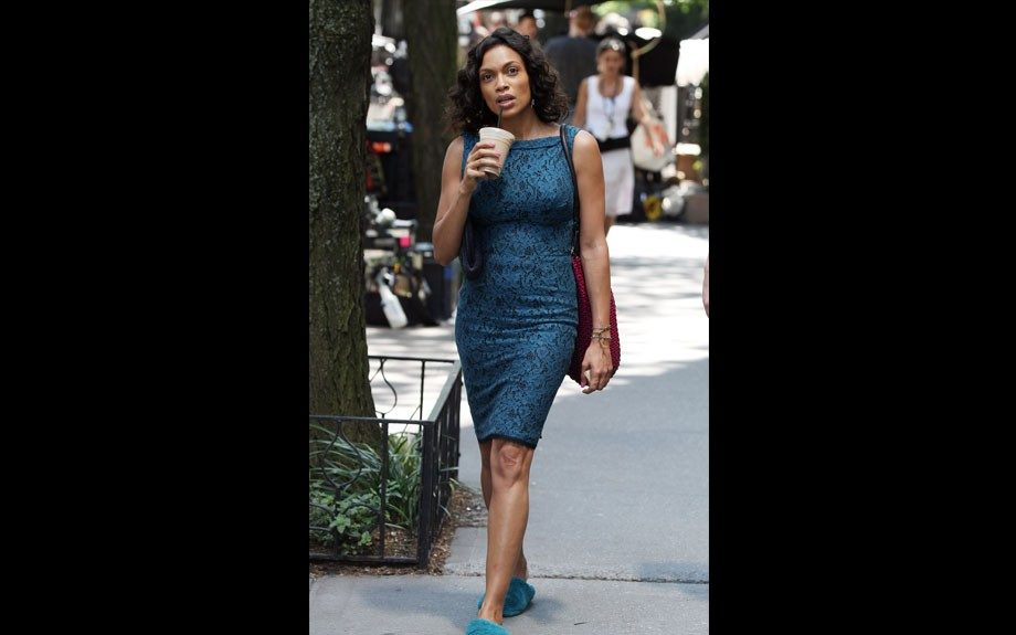 """<p class=""""p1""""> <span class=""""s1"""">Actress Rosario Dawson on the set of the new Chris Rock movie project <em>Finally Famous! </em>in New York City.</span>"""