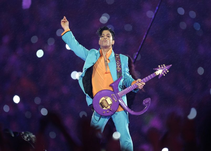 <p> Prince performing during the halftime show at Super Bowl XLI(AP Photo/Chris O'Meara)</p>