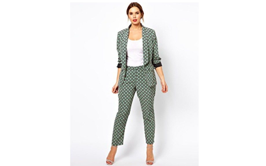 """<a href=""""http://www.asos.com/ASOS-Curve/ASOS-CURVE-Exclusive-Blazer-In-Statement-Geo/Prod/pgeproduct.aspx?iid=2815995&cid=9577&sh=0&pge=7&pgesize=20&sort=-1&clr=Multi"""" target=""""_blank"""">ASOS Curve Geo Blazer and Trousers</a> ($83.13 and $66.50; asos.com)"""