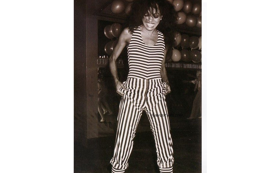 Miss Diana Ross cutting a rug in this chic striped pantsuit, 1983. Image Courtesy of glamoursurf.com