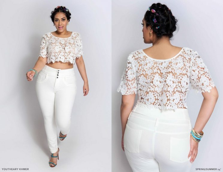 Crop tops are all the craze this season. Paired with high waistedSh white jeans, you really can't go wrong