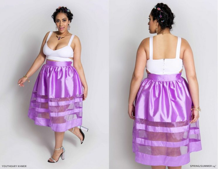 The rich lavender sheer cutout midi skirt is easily transferable from day to night