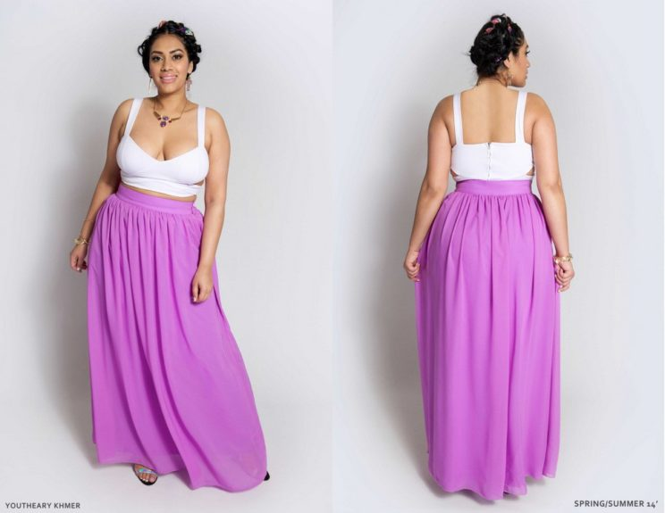 Floor length skirts in bold colors will turn heads