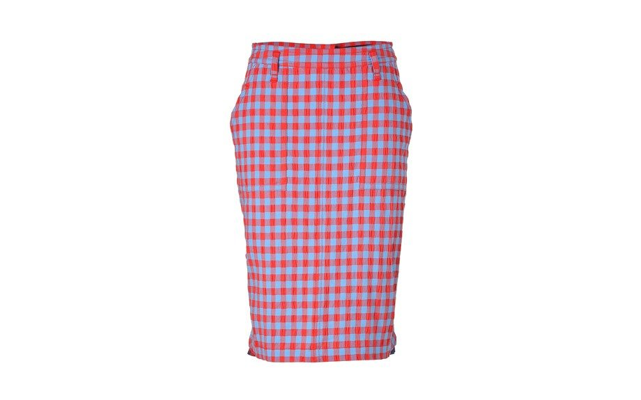 """This bright-colored Marc by Marc Jacobs Cotton Check Skirt is perfect for color blocking and print mixing, $190; <a href=""""http://goo.gl/ycgPRP"""" target=""""_blank"""">www.stylebop.com</a>"""