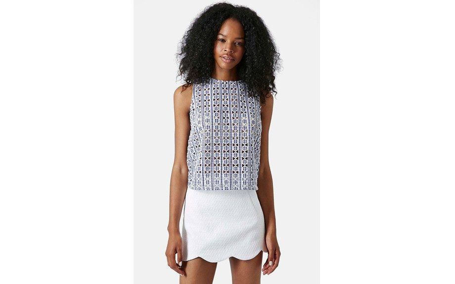 """Put a twist on your gingham in thisTopshopGingham Print Cutout Shell, $64;<a href=""""http://goo.gl/rvhB5A"""" target=""""_blank""""> www.nordstrom.com</a>"""