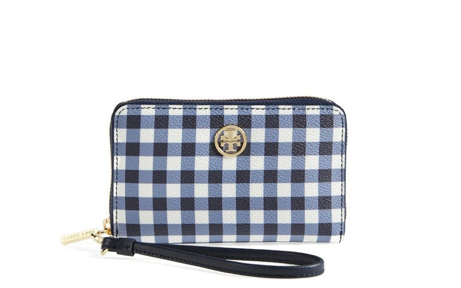 """If you're not big on gingham, you could always start small with this Tory Burch Robinson Phone Wallet, $125; <a href=""""http://goo.gl/IMVJsv"""" target=""""_blank"""">www.nordstrom.com</a>"""