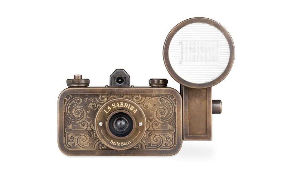 Photo Finish: A vintage-inspired camera in oxidized brass is perfect for capturing all of his outdoor adventures. Lomography La Sardina Coyote Camera & Flash ($199; lomography.com)