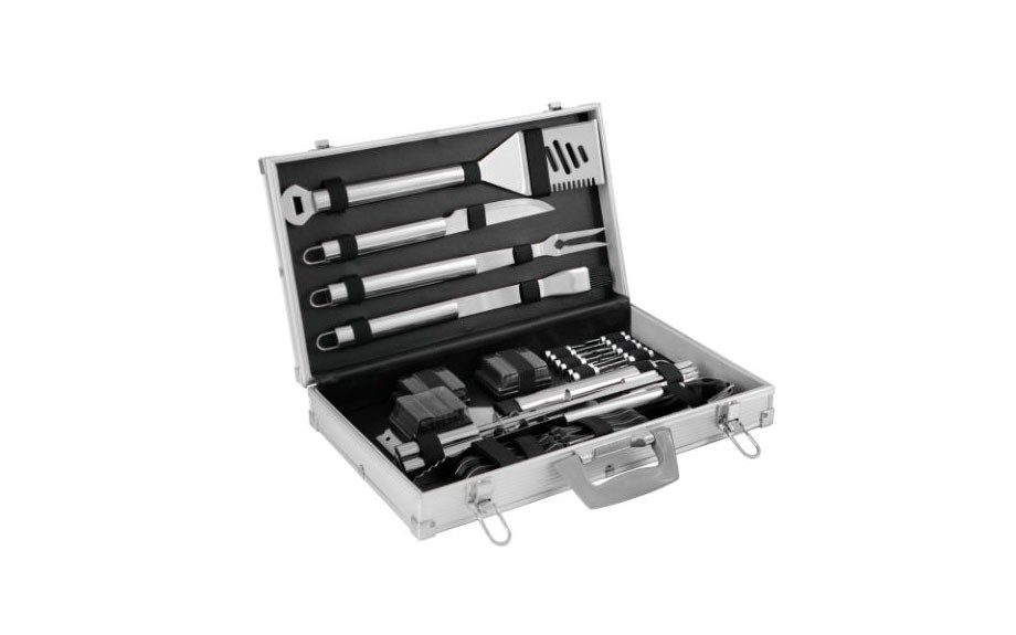 Get Grilling: A breeze, a flame and lighter fluid—men love grilling for the sheer danger of it. Cop this kit for the dad who loves to get his barbecue on. Mr. Bar-B-Q 30-Piece Tool Set With Aluminum Case ($69; homedepot.com)
