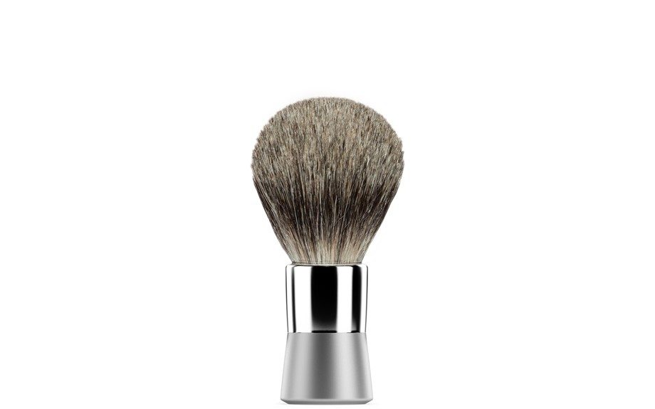 """<a href=""""https://getbevel.com/learn-more"""">The Badger Brush</a>, rub this gentle brush against your facial hair for a nice lather and proceed to shave!"""